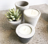 Concrete planters with soy wax candles by Room 2046 Concept Shop Toronto Canada