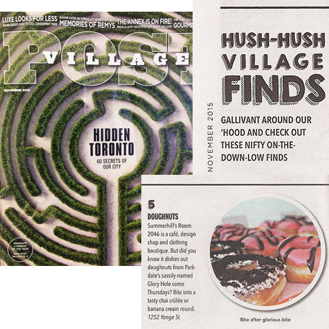 Doughnuts in Room 2046 as featured in the Village City Post Toronto Magazine