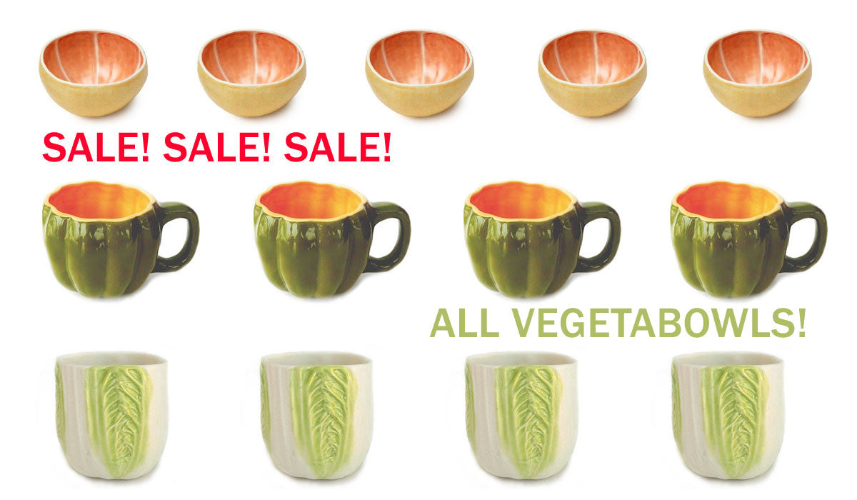 Sale on all Vegetabowls - ceramics at Room 2046 Toronto Canada