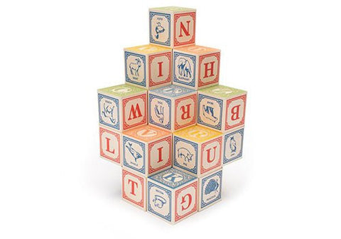 Uncle Goose Classic ABC Wooden Blocks available from Room 2046 cafe shop studio Toronto Canada