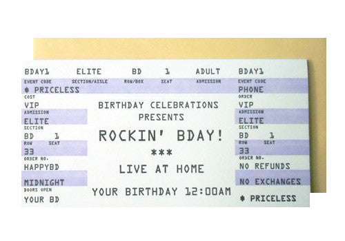 A Favorite Design Birthday Rock Concert Ticket Greeting Card | Room 2046 Toronto Canada