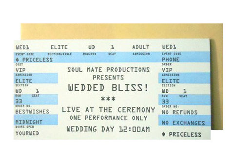 A Favorite Design Wedding Rock Concert Ticket Greeting Card | Room 2046 Toronto Canada