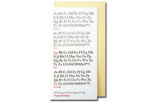 A Favorite Design Birthday Typefaces Greeting Card | Room 2046 Toronto Canada