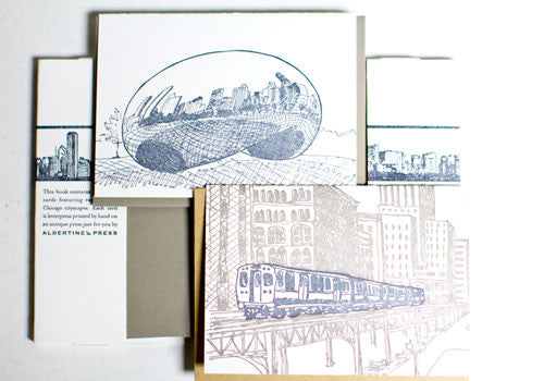 Albertine Press Chicago Sketches Letterpress Notecards