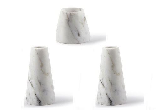 Atipico Tellus Carrara Marble Candle Holders Set
