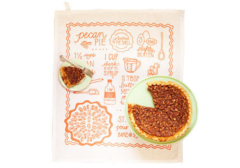 Belle and Union Pecan Pie Recipe Cotton Screenprinted Tea Towel | Room 2046 Toronto Canada