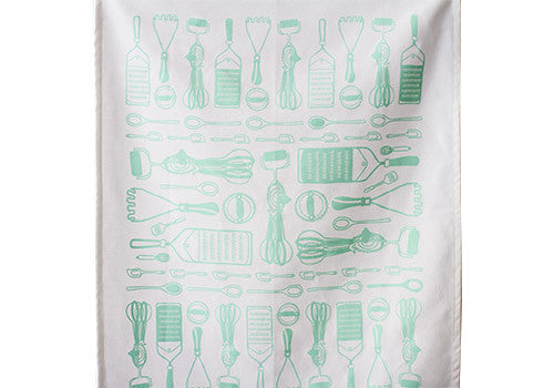 Belle and Union Utensils Cotton Screenprinted Tea Towel