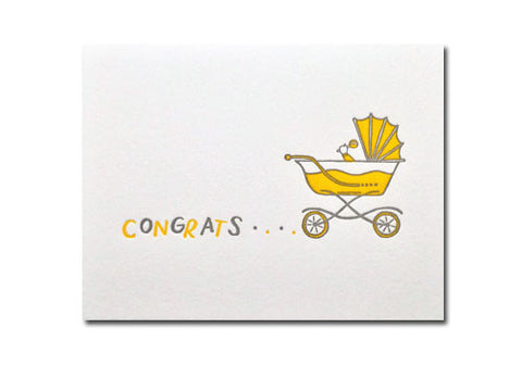 Bench Pressed Baby Carriage Letterpress Card | Room 2046 Toronto Canada