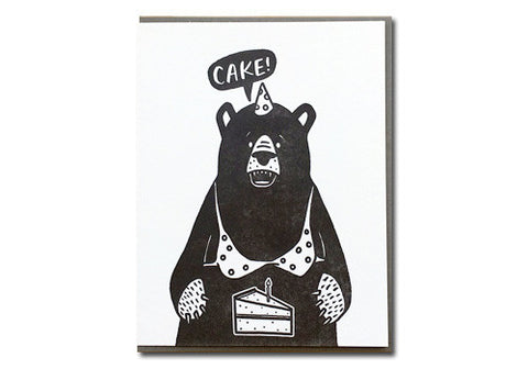 Bench Pressed Cake Bear Birthday Letterpress Card | Room 2046 Toronto Canada
