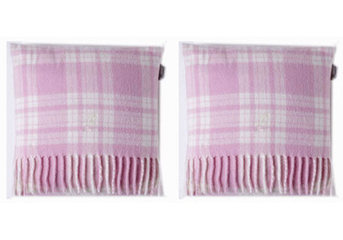 Kids Pink Merino Lambswool Mini Set of 2 Cushions - pink/white