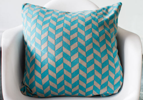 Darzzi Polygon Aqua Stone Cotton Cushion | Room 2046 Toronto Canada