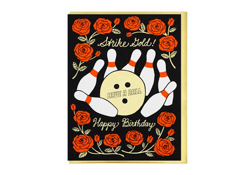 Lucky Horse Press Strike Gold Bowling Birthday Greeting Card | Room 2046 Toronto Canada