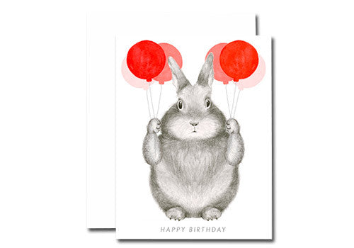 Dear Hancock Birthday Balloons Bunny Card