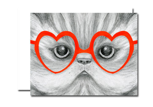Dear Hancock Heart Glasses Kitten Card | Room 2046 Toronto Canada