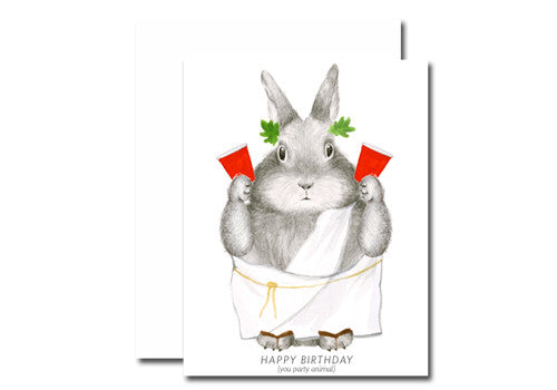 Dear Hancock Toga Party Animal Bunny Birthday Card | Room 2046 Toronto Canada