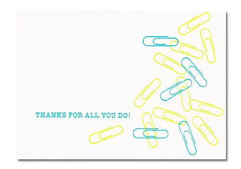 Dee and Lala Paperclip Letterpress Thank You Card | Room 2046 Toronto Canada