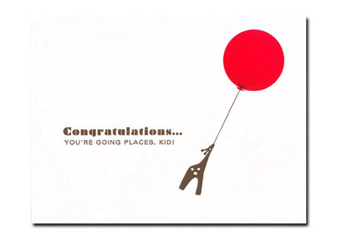 Dee and Lala Giraffe Red Balloon Congratulations Baby Card