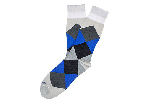 Etiquette Clothiers Harlequin Blue Grey Socks | Room 2046 Toronto Canada