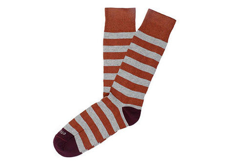 Etiquette Clothiers Rugby Stripes Rust Socks | Room 2046 Toronto Canada