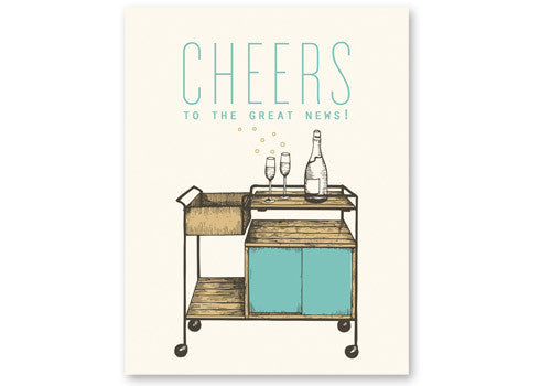 Flakes Paperie Congratulations Bar Cart Card