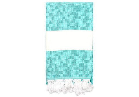 Fine Loom Elmas 01 420g Cotton Turkish Towel - Turquoise | Room 2046 Toronto Canada