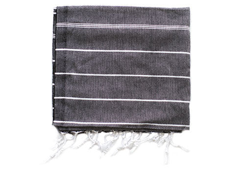 Fine Loom Peskir 80g Cotton Turkish Hand Towel - Black | Room 2046 Toronto Canada