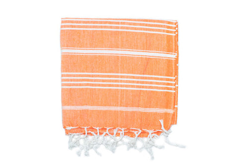 Fine Loom Peshkir 80g Cotton Turkish Hand Towel - Tangerine | Room 2046 Toronto Canada