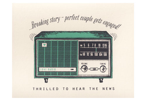 Flakes Paperie Radio Engagement Card
