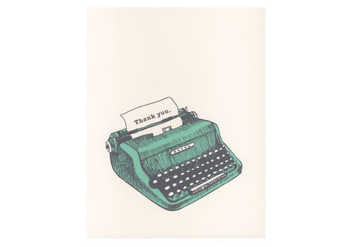 Flakes Paperie Typewriter Thank You Card