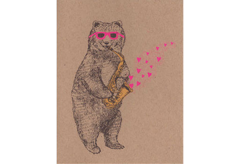 Bear Love Card - Grizzly bear playing the sax