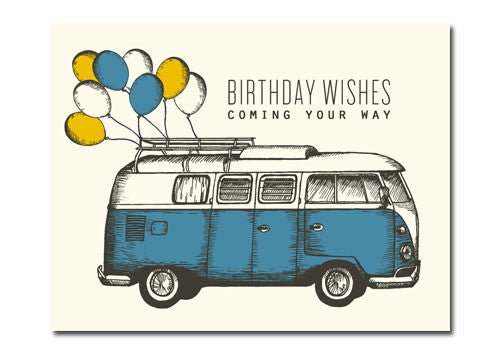 Flakes Paperie Camper Birthday Wishes Card | Room 2046 Toronto Canada