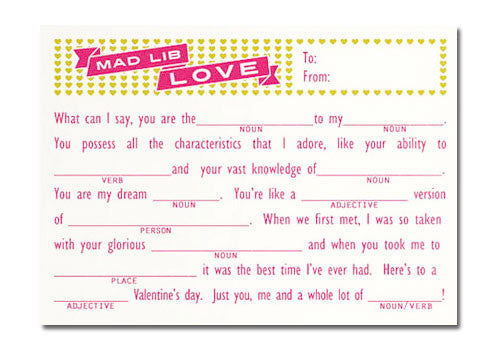 Flakes Paperie Love Mad Lib Valentine Card | Room 2046 Toronto Canada