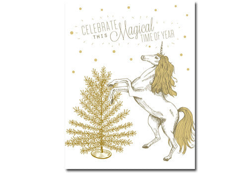 Flakes Paperie Holiday Magical Unicorn Card | Room 2046 Toronto Canada