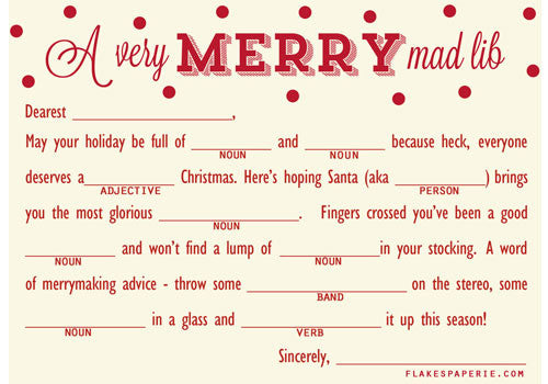 Flakes Paperie A Very Merry Mad Lib Card