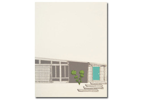 Flakes Paperie Mid-Century Modern House Card - Blue | Room 2046 Toronto Canada