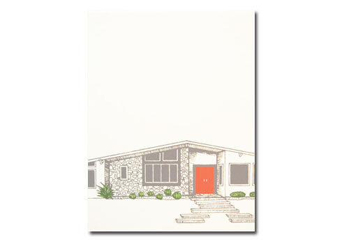 Flakes Paperie Mid-Century Modern House Card - Red | Room 2046 Toronto Canada