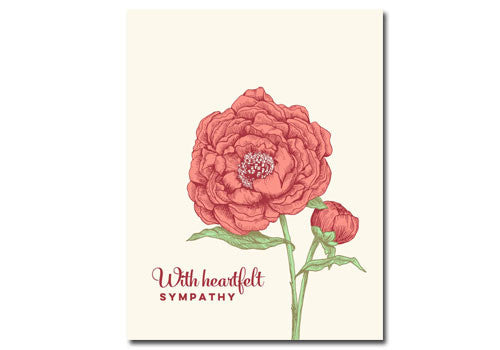 Flakes Paperie Peony Sympathy Card | Room 2046 Toronto Canada