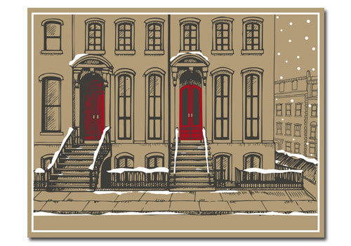 Flakes Paperie Snowy Brownstone Holiday Card | Room 2046 Toronto Canada