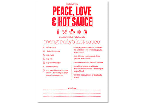 Graven Feather Peace Love and Hot Sauce Card | Room 2046 Toronto Canada
