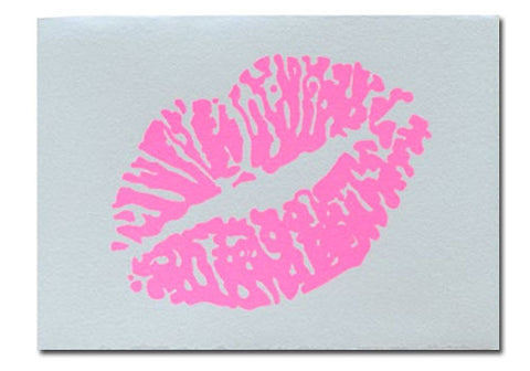 Gold Teeth Brooklyn Hot Pink Lips Screenprinted Card | Room 2046 Toronto Canada