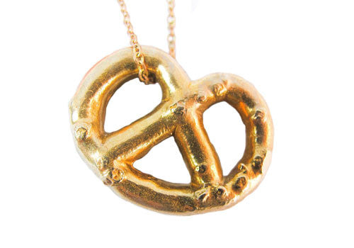 Gold Teeth Brooklyn Solid Brass Pretzel Pendant Necklace | Room 2046 Toronto Canada
