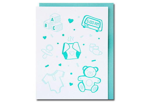 Loudhouse Creative Baby Icons Letterpress Baby Card | Room 2046 Toronto Canada