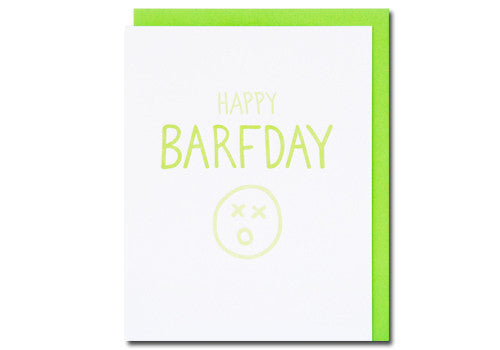 Loudhouse Creative Happy Barfday Letterpress Birthday Card | Room 2046 Toronto Canada