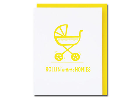 Loudhouse Creative Rollin' Homies Letterpress Baby Card | Room 2046 Toronto Canada