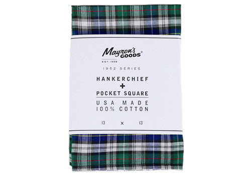 Mayron's Goods 100% Cotton Green and Plaid Pocket Square | Room 2046 Toronto Canada