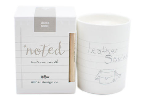 Mine Design Noted 7 oz Soy Candle - Leather Satchel | Room 2046 Toronto Canada