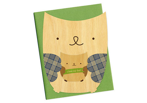 Night Owl Paper Goods Owl Dad Father's Day Wooden Card | Room 2046 Toronto Canada