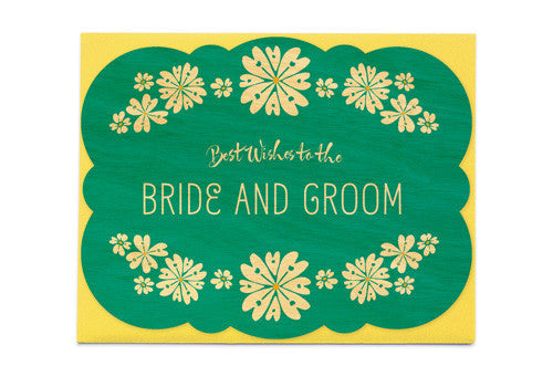 Night Owl Paper Goods Best Wishes Floral Wedding Wooden Card | Room 2046 Toronto Canada