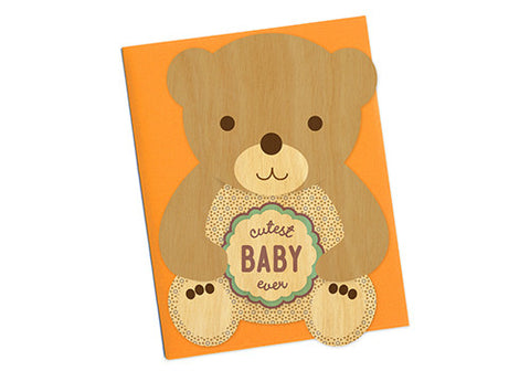 Night Owl Paper Goods Cutest Baby Bear Wooden Card | Room 2046 Toronto Canada