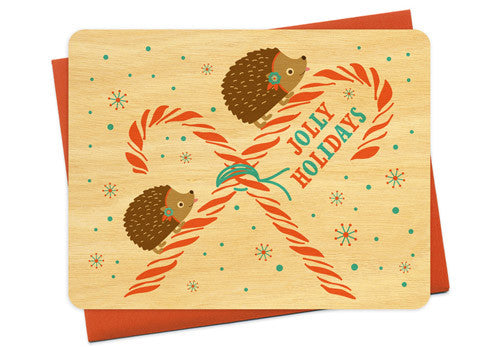 Night Owl Paper Goods Jolly Holidays Hedgehogs Wooden Card | Room 2046 Toronto Canada